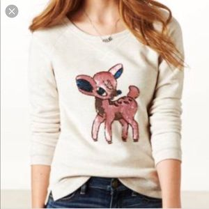 AE Beige Sequin Crewneck Pullover Bambi Sweater